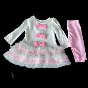 Nanette Baby white and pink ruffle dress and pant